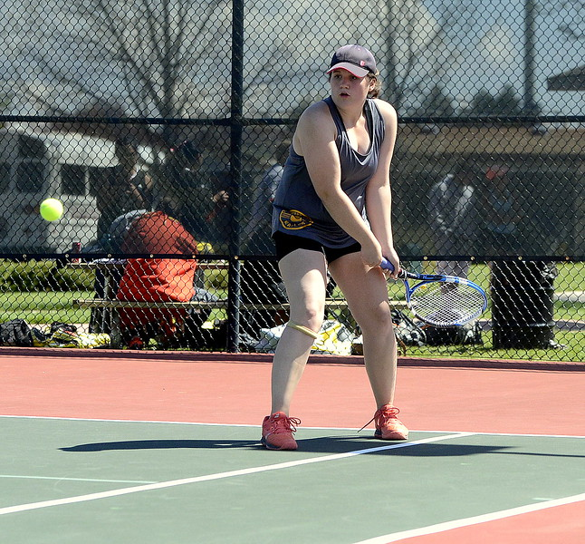 Thompson Valley's Lyndsey Bauer returns a shot in her No. 3 singles semifinal with Loveland's Grace Haenny on Wednesday at Centennial Park in Greeley. Bauer advanced to the 4A Region 4 final with her 3-6, 6-3, 6-2 victory.