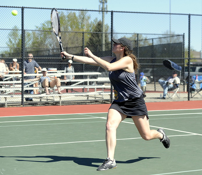 Thompson Valley's Abi Parsons returns a shot during the No. 2 doubles title match of the 4A Region 4 tournament on Thursday, May 4, 2017. She and partner Lauren Davies went the distance for the championship, winning 6-7 (4), 6-4, 7-6 (5).