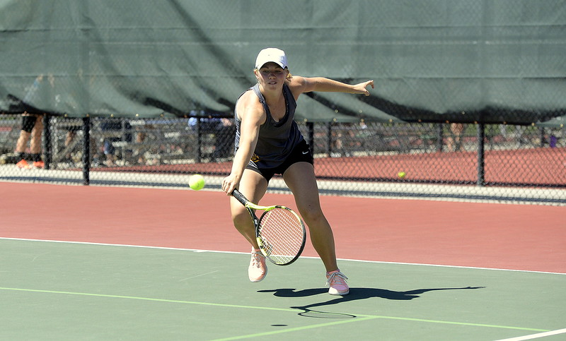 Thompson Valley's Maddie Sheets comes in to return a shot during the 4A Region 4 No. 2 singles championship match Thursday, May 4, 2017, in Greeley. Sheets won the title, earning a return trip to state with her 6-4, 6-3 win over Loveland's Addi Woodard.