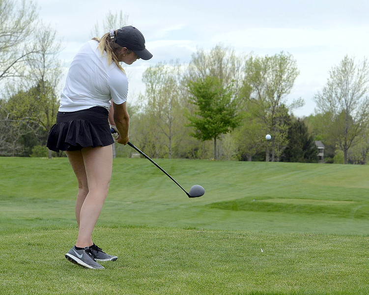 Mountain View's Camryn Polansky hits her drive on the first playoff hole during the 4A Region 4 golf tournament Monday at Highland Hills Golf Course in Greeley.  (Mike Brohard/Loveland Reporter-Herald)