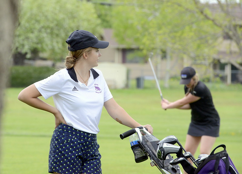 Ally Buckner of Mountain View waits her turn during the 4A Region 4 golf tournament Monday at Highland Hills Golf Course in Greeley. (Mike Brohard/Loveland Reporter-Herald)