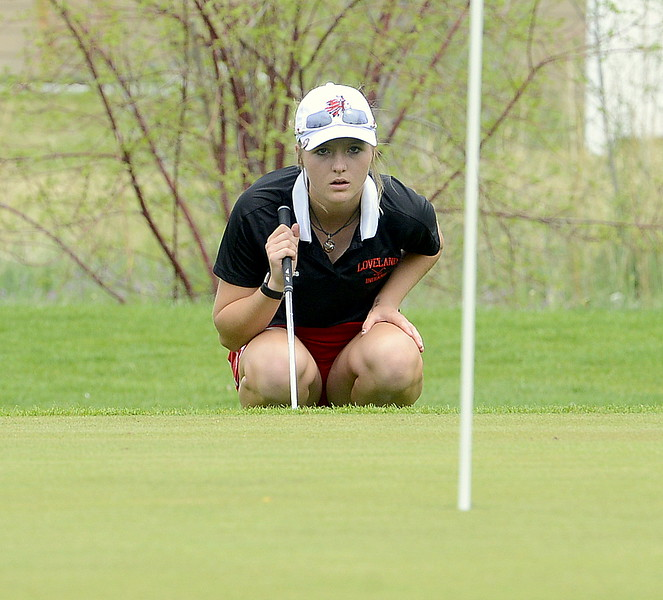 Lauren Lehigh of Loveland reads a putt on the 12th green during the 4A Region 4 golf tournament Monday at Highland Hills Golf Course in Greeley. Lehigh won the individual title with a 2-over 74. (Mike Brohard/Loveland Reporter-Herald)