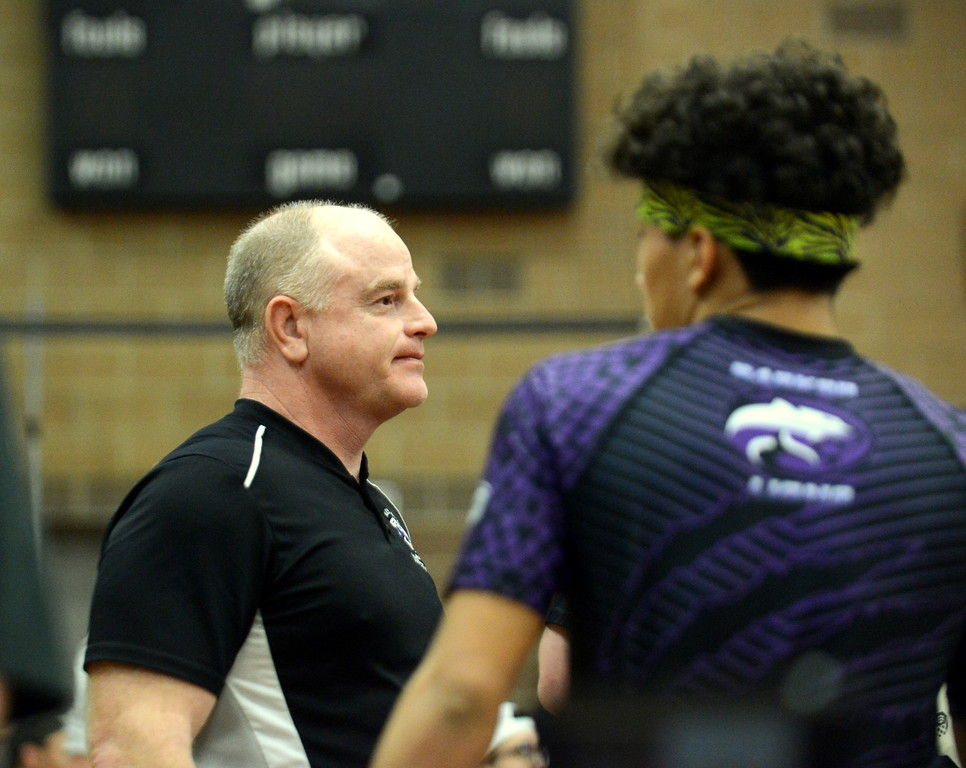. Mountain View coach Scott Barker is all focus prior to Malachi Contreras\' 120-pound championship match at Saturday\'s 4A Region 4 wrestling tournament at Mead. (Mike Brohard/Loveland Reporter-Herald)