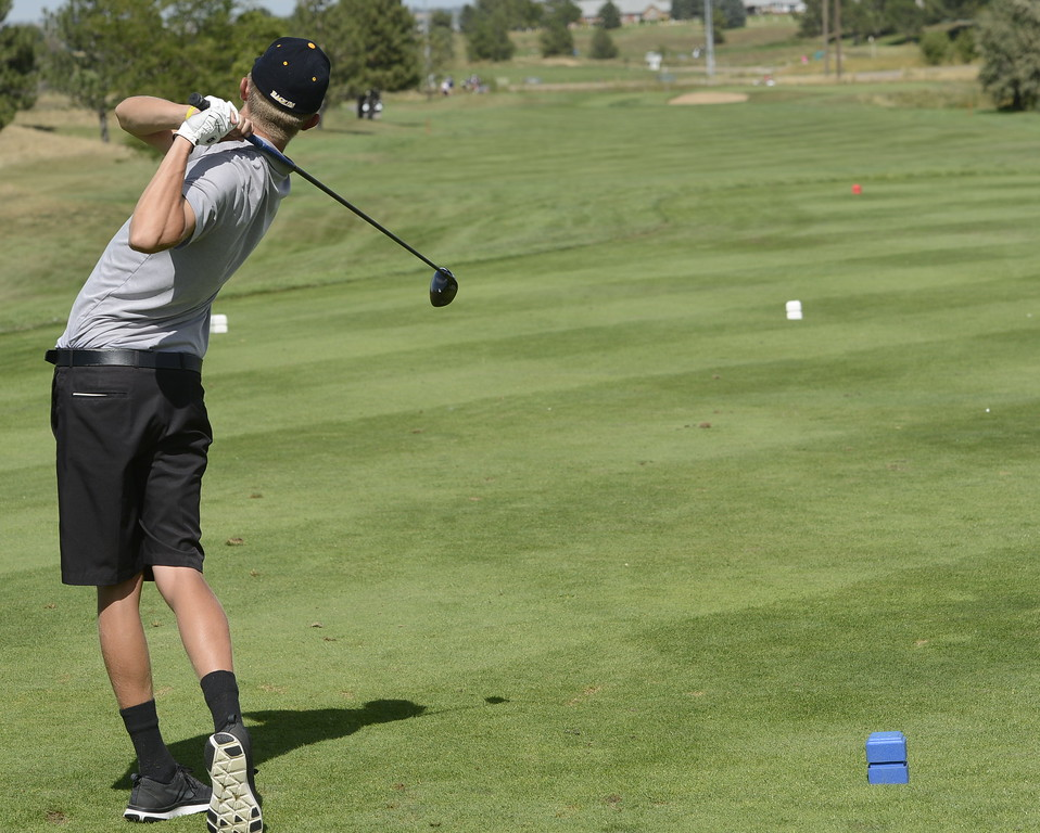 Thompson Valley's Darren Edwards tees off on the 18th hole during the Region 3 tournament at Boomerang Golf Course in Greeley on Tuesday.