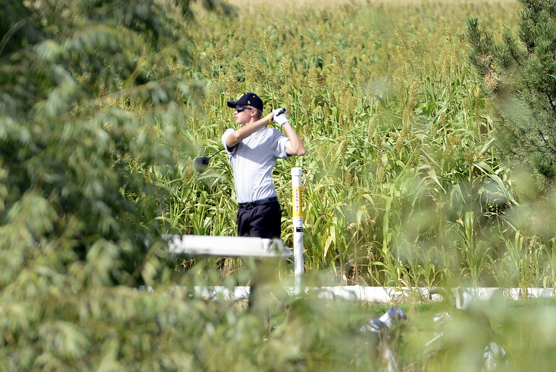 Thompson Valley's Darren Edwards tees off the ninth hole during the 4A Region 3 tournament on Tuesday at Boomerang Golf Course in Greeley.