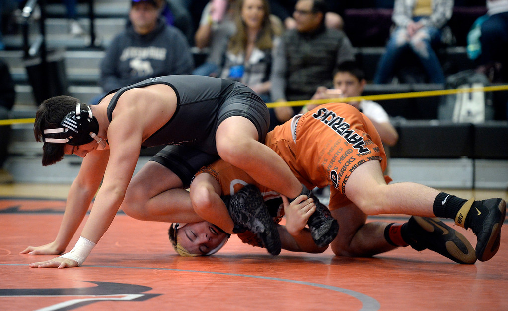 . MEAD, CO: February 16, 2019: Blake Roybal, left, of Roosevelt, takes on Kyle Johnson, of Mead, at 160-pounds, during the 4A Regionals at Mead High School on February 16, 2019. For more photos go to Bocopreps.com. (Photo by Cliff Grassmick/Staff Photographer)