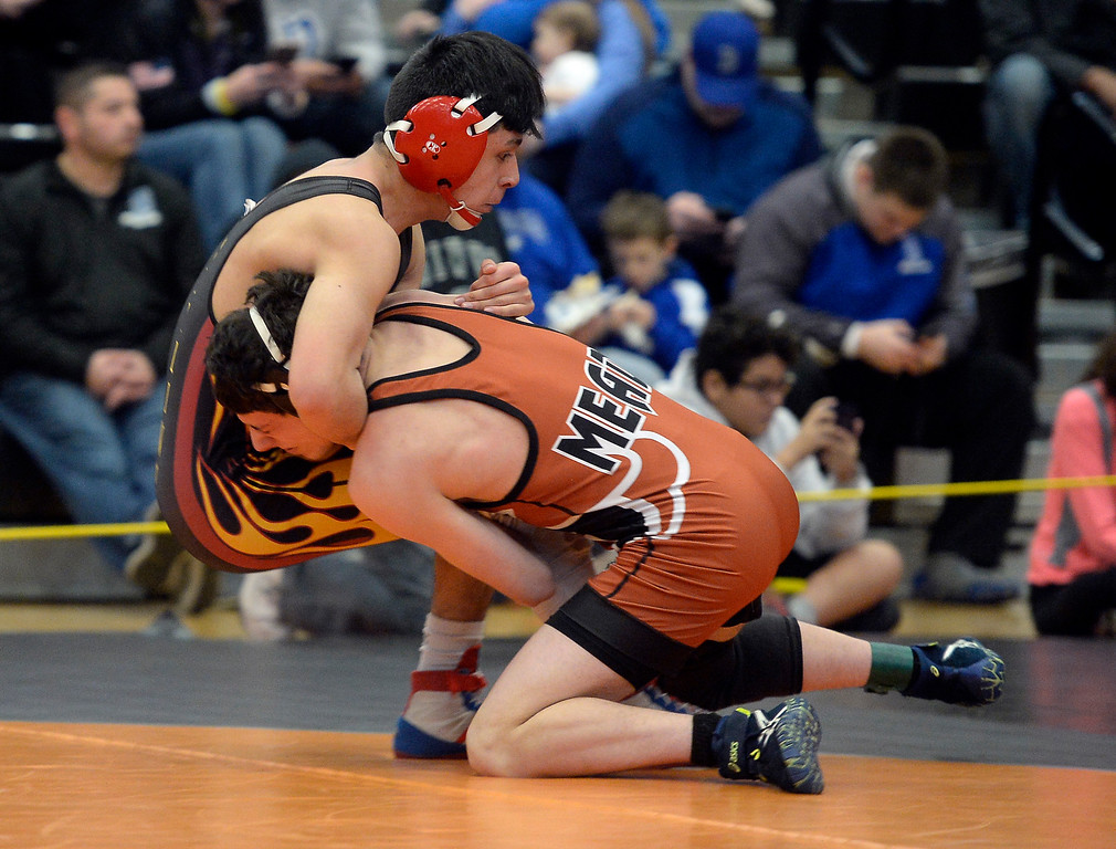 . MEAD, CO: February 16, 2019: Blake Morgan, right, of Mead, tries to take down Jesse Valenspino, of Skyline t 126-pounds  during the 4A Regionals at Mead High School on February 16, 2019. For more photos go to Bocopreps.com. (Photo by Cliff Grassmick/Staff Photographer)