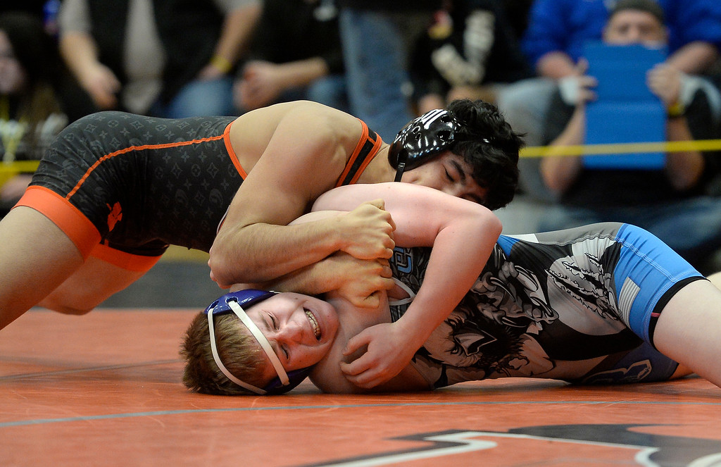 . MEAD, CO: February 16, 2019: Yahir Chairez-Salazar, left, of Greeley Central, controls Austin Lyda, of Broomfield, at 160-pounds during the 4A Regionals at Mead High School on February 16, 2019. For more photos go to Bocopreps.com. (Photo by Cliff Grassmick/Staff Photographer)