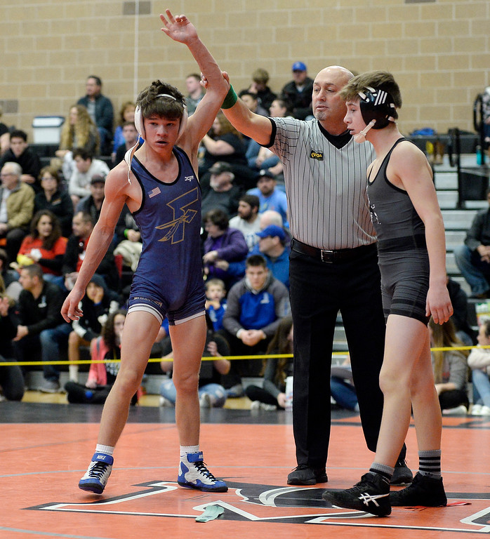 . MEAD, CO: February 16, 2019:  Jonah Gardner, left, of Frederick, beats Jayden, of Roosevelt at 106-pounds during the 4A Regionals at Mead High School on February 16, 2019. For more photos go to Bocopreps.com. (Photo by Cliff Grassmick/Staff Photographer)