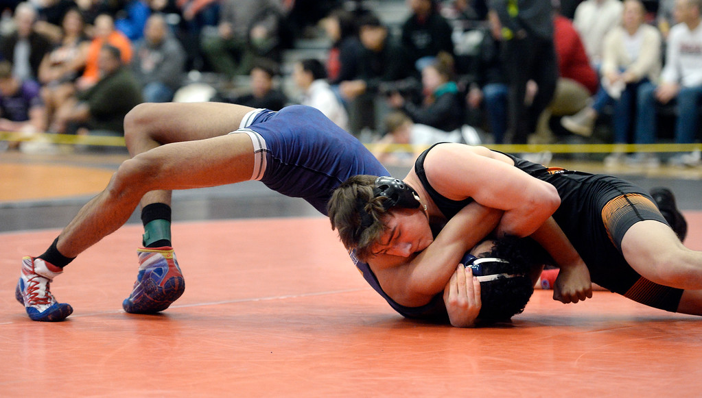 . MEAD, CO: February 16, 2019: Karsten Odom, top, of Erie, beats Brandon Andes, of Frederick at 145-pounds, during the 4A Regionals at Mead High School on February 16, 2019. For more photos go to Bocopreps.com. (Photo by Cliff Grassmick/Staff Photographer)