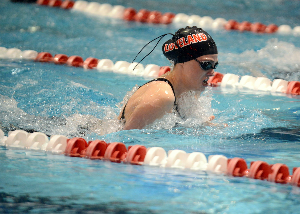 . Loveland\'s  Ashley Peet closed out the 100-yard breaststroke in style during Friday\'s 4A State Swimming & Diving Finals at Veterans Memorial Aquatic Center in Thornton. She made up ground in the final 50, taking second in a time of 1:04.71. (Mike Brohard/Loveland Reporter-Herald)