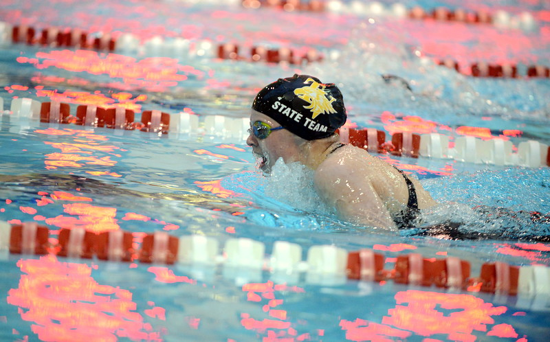 Thompson Valley's Emma McKalko does the breaststroke leg of the 200-yard individual medley during Friday's 4A State Swimming & Diving Finals at Veterans Memorial Aquatic Center in Thornton. McKalko placed 16th. (Mike Brohard/Loveland Reporter-Herald)