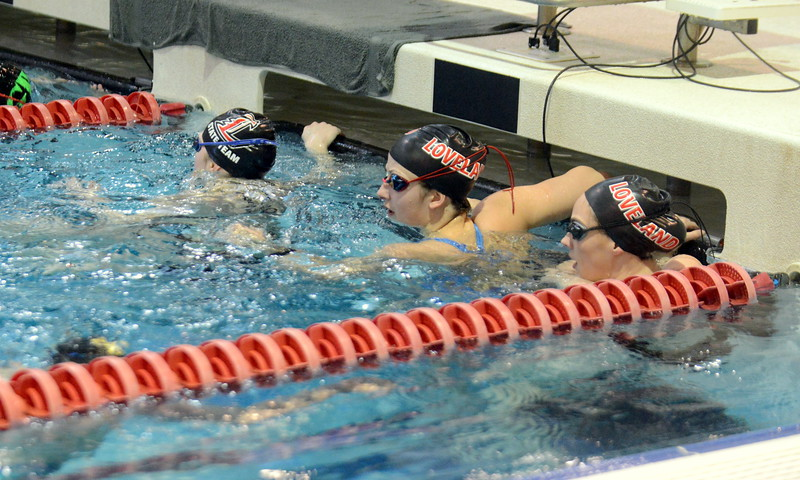 Loveland swimmers warm up prior to  Friday's finals for the 4A State Swim & Dive Championships at Veterans Memorial Aquatic Center in Thornton. (Mike Brohard/Loveland Reporter-Herald0