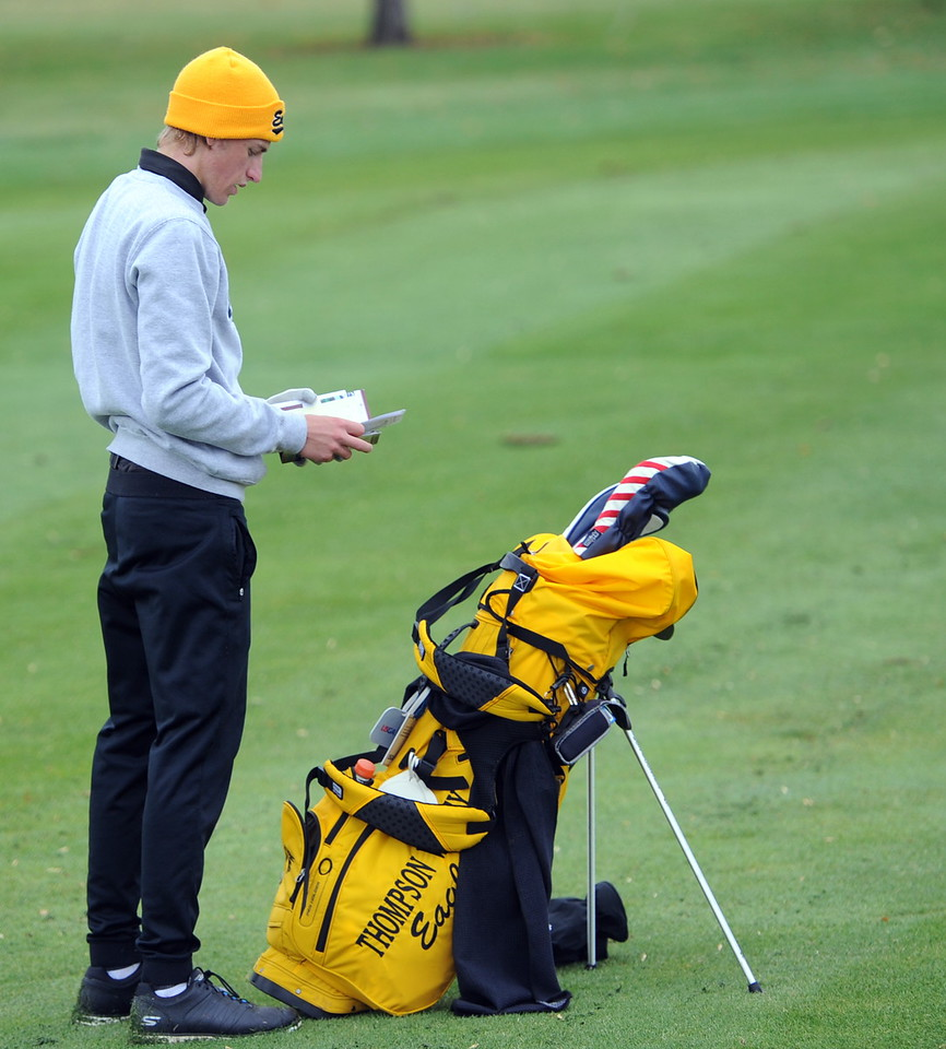Thompson Valley's Nate Dwyer checks his yardage book during the first round of the 4A state golf tournament on Monday at Raccoon Creek in Littleton.