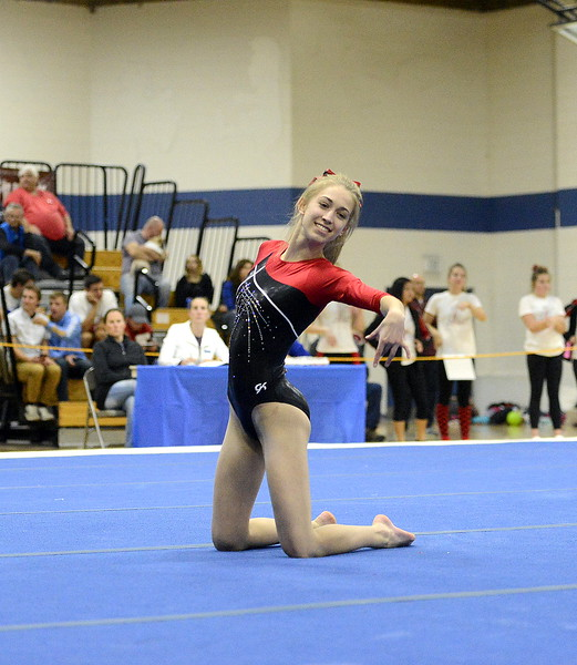 Hannah White of Loveland competes during the floor routine Friday at the 4A State Gymnastics meet at Thornton High School.