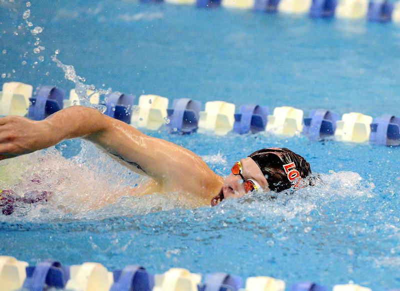 Loveland's Danny Turner closes out the final leg of the 200-yard individual medley consolation final at the 4A state boys swim and dive meet Saturday at the Air Force Academy Natatorium. (Mike Brohard/Loveland Reporter-Herald)