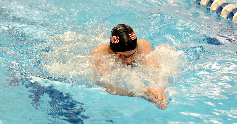 Loveland's Ashton Lyon does the breaststroke in the 200-yard individual medley consolation finals  at the 4A state boys swim and dive meet Saturday at the Air Force Academy Natatorium. (Mike Brohard/Loveland Reporter-Herald)