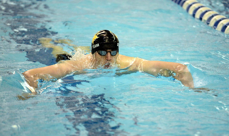 Thompson Valley's Luikas Gately competes in the 200-yard individual medley finals  at the 4A state boys swim and dive meet Saturday at the Air Force Academy Natatorium. (Mike Brohard/Loveland Reporter-Herald)