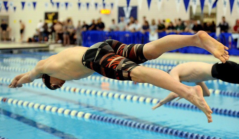 Loveland's Asthon Lyon dives in for the 200-yard individual medley consolation heat  at the 4A state boys swim and dive meet Saturday at the Air Force Academy Natatorium. (Mike Brohard/Loveland Reporter-Herald)
