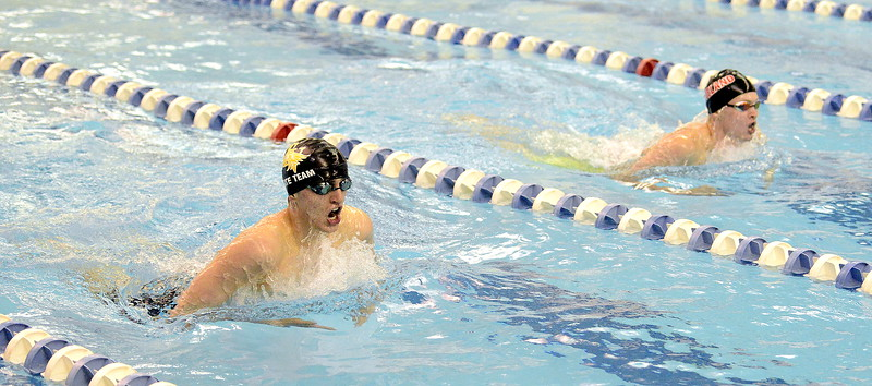 Thompson Valley's Lukas Gately (left) and Loveland's Danny Turner come up for air during the breaststroke portion of the 200-yard individual medley at the 4A state swim and dive preliminaries on Friday at the Air Force Academy Natatorium. (Mike Brohard/Loveland Reporter-Herald)