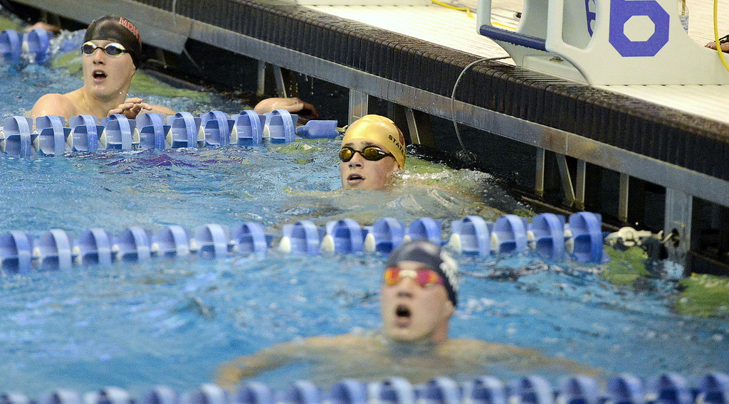 . Andrew Scoggin of Windsor looks for his time on the scoreboard at the end of the 50-yard freestyle at the 4A state swim and dive preliminaries on Friday at the Air Force Academy Natatorium. (Mike Brohard/Loveland Reporter-Herald)