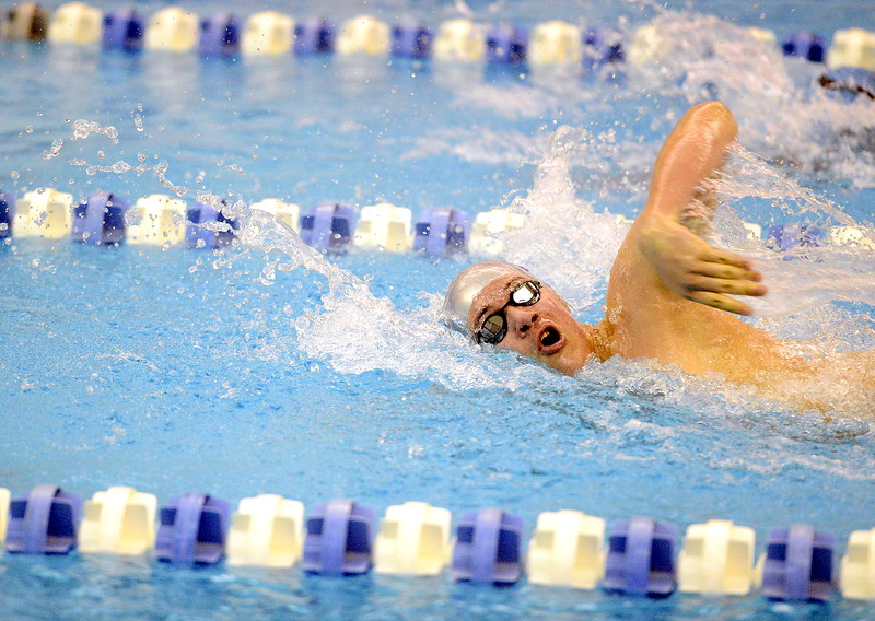 Mountain View's Julien Goering competes in the 200-yard freestyle at the 4A state swim and dive preliminaries on Friday at the Air Force Academy Natatorium. (Mike Brohard/Loveland Reporter-Herald)