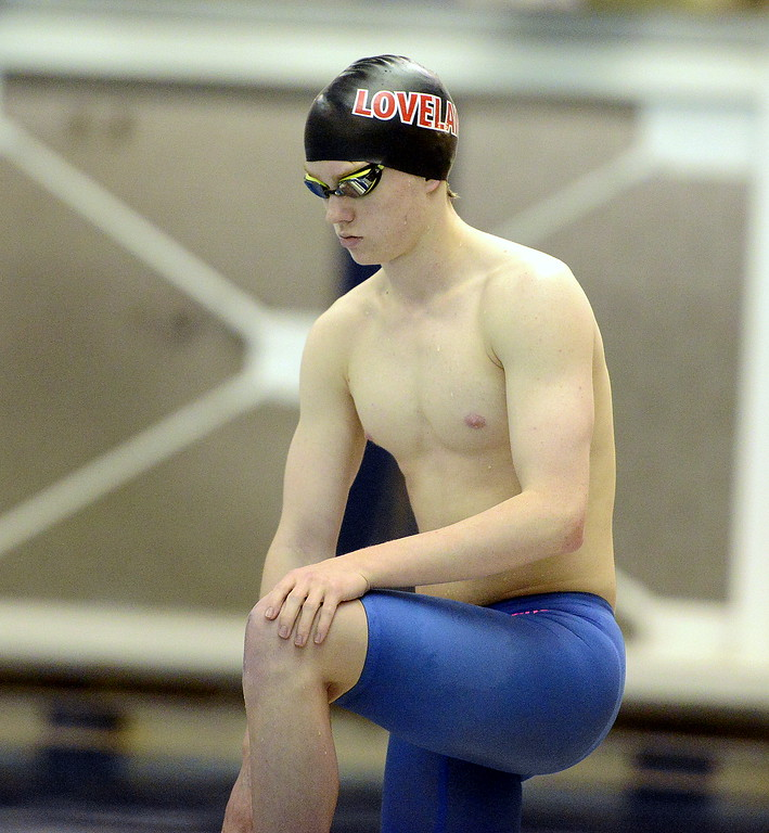 . Jack Curtis of Loveland collects his thoughts behind the blocks prior to the 200-yard individual medley at the 4A state swim and dive preliminaries on Friday at the Air Force Academy Natatorium. (Mike Brohard/Loveland Reporter-Herald)