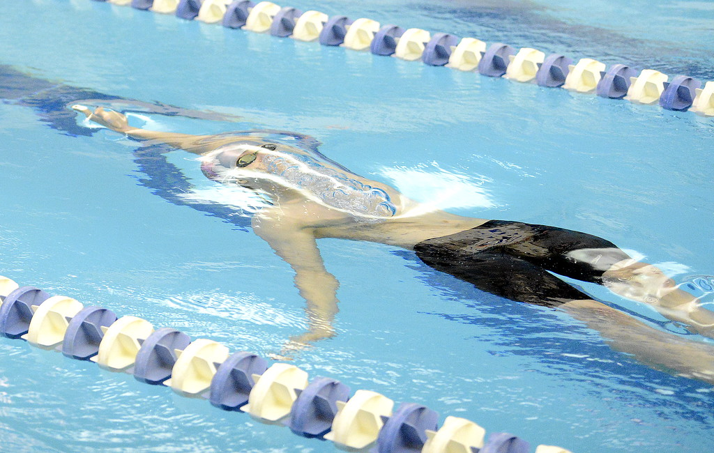 . Mountain View\'s Noah Floyd is ready to surface at the start of the 200-yard medley relay at the 4A state swim and dive preliminaries on Friday at the Air Force Academy Natatorium. (Mike Brohard/Loveland Reporter-Herald)