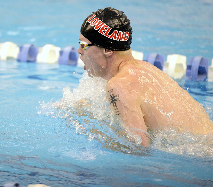 Loveland's Danny Turner swims the breastsroke leg of the 200-yard medley relay at the 4A state swim and dive preliminaries on Friday at the Air Force Academy Natatorium. (Mike Brohard/Loveland Reporter-Herald)