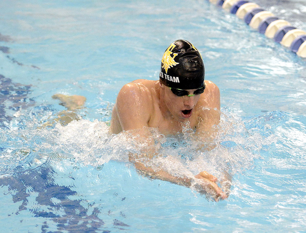 . Jaiden Maycroft of Thompson Valley does the breaststroke leg of the 200-medley relay at the 4A state swim and dive preliminaries on Friday at the Air Force Academy Natatorium. (Mike Brohard/Loveland Reporter-Herald)