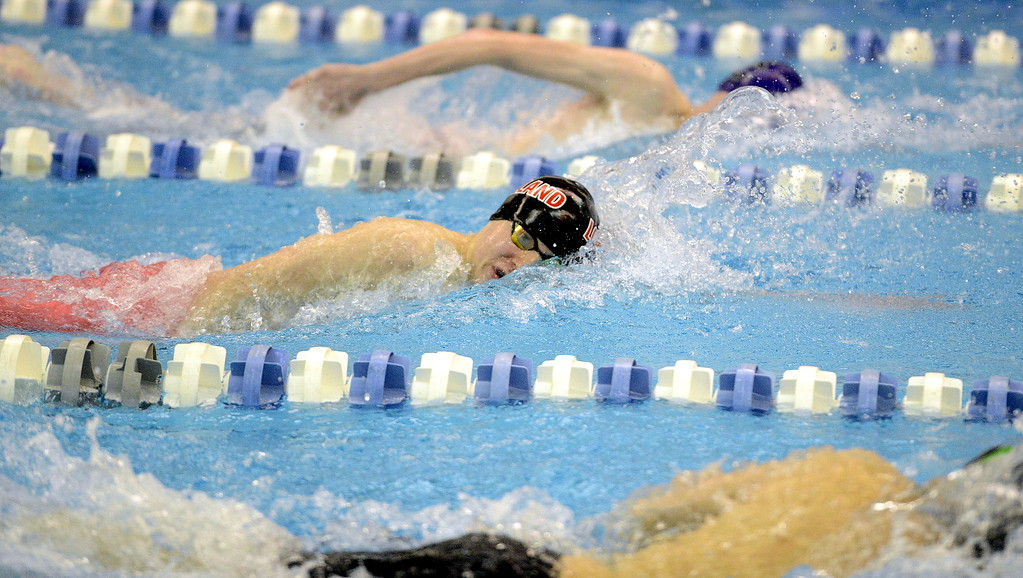 . Loveland\'s Jakob Borrman competes in the 200-yard freestyle, qualifying seventh for the finals at the 4A state swim and dive preliminaries on Friday at the Air Force Academy Natatorium. (Mike Brohard/Loveland Reporter-Herald)
