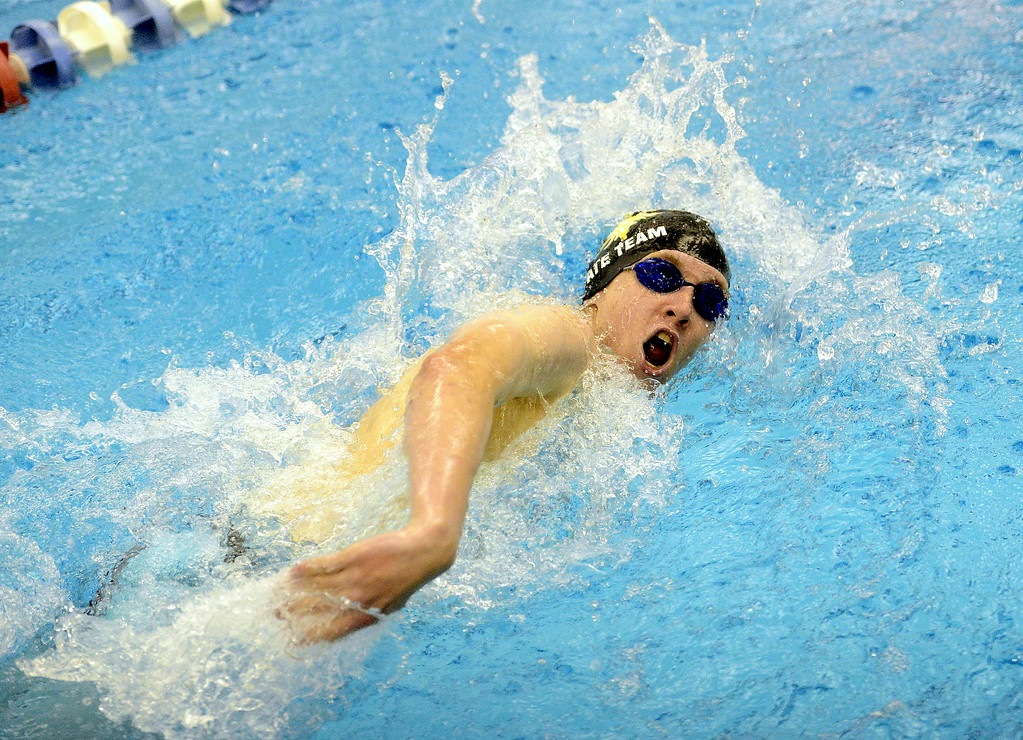 . Jake Axelson of Thompson Valley competes in the 200-yard freestyle at the 4A state swim and dive preliminaries on Friday at the Air Force Academy Natatorium. (Mike Brohard/Loveland Reporter-Herald)