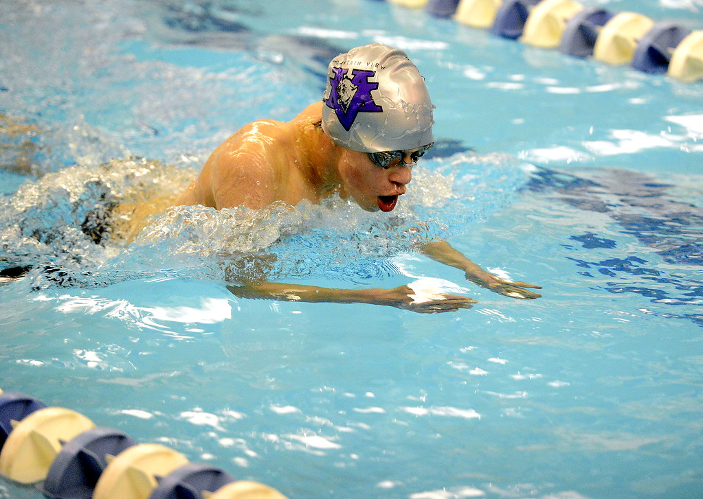 . Avery Vinton of Mountain View does the breaststroke during the 200-yard medley relay at the 4A state swim and dive preliminaries on Friday at the Air Force Academy Natatorium. (Mike Brohard/Loveland Reporter-Herald)