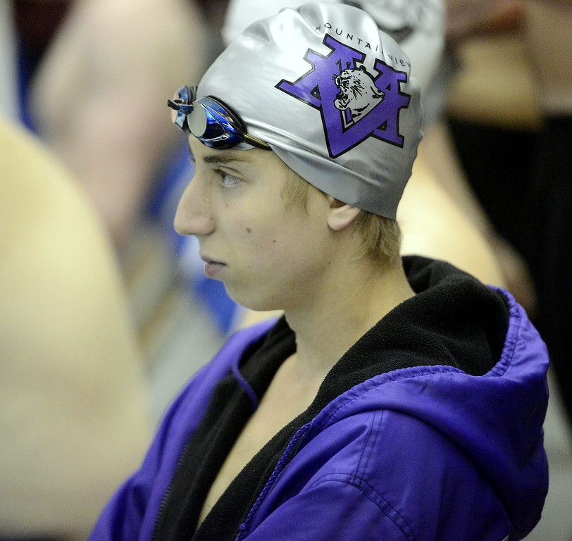 . Max Bridges of Mountain View gains his focus as he waits for his 100-yard butterfly heat to be called at the 4A state swim and dive preliminaries on Friday at the Air Force Academy Natatorium. (Mike Brohard/Loveland Reporter-Herald)