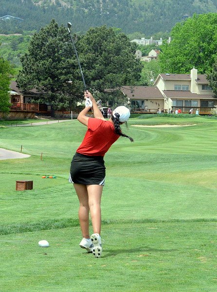 Loveland's Natalee Hall tees off from No. 8 during the first round of the 4A state girls golf tournament Monday at Country Club of Colorado in Colorado Springs (Mike Brohard/Loveland Reporter-Herald)
