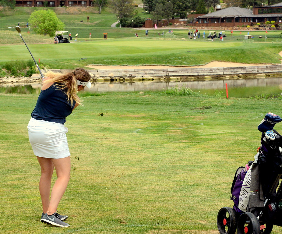 Mountain View's Camryn Polansky hits a wedge on No. 18 during the first round of the 4A state girls golf tournament Monday at Country Club of Colorado in Colorado Springs (Mike Brohard/Loveland Reporter-Herald)