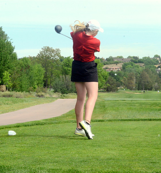 Loveland's Taylor Bandemer drives from No. 3 during the first round of the 4A state girls golf tournament Monday at Country Club of Colorado in Colorado Springs (Mike Brohard/Loveland Reporter-Herald)