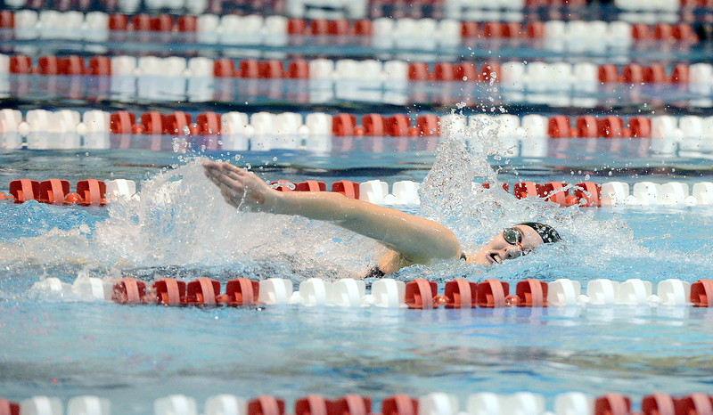 Loveland's Mia Gauvin competes in the 200-yard freestyle during the 4A girls state swim meet preliminaries Friday at Veterans Memorial Aquatic Center.