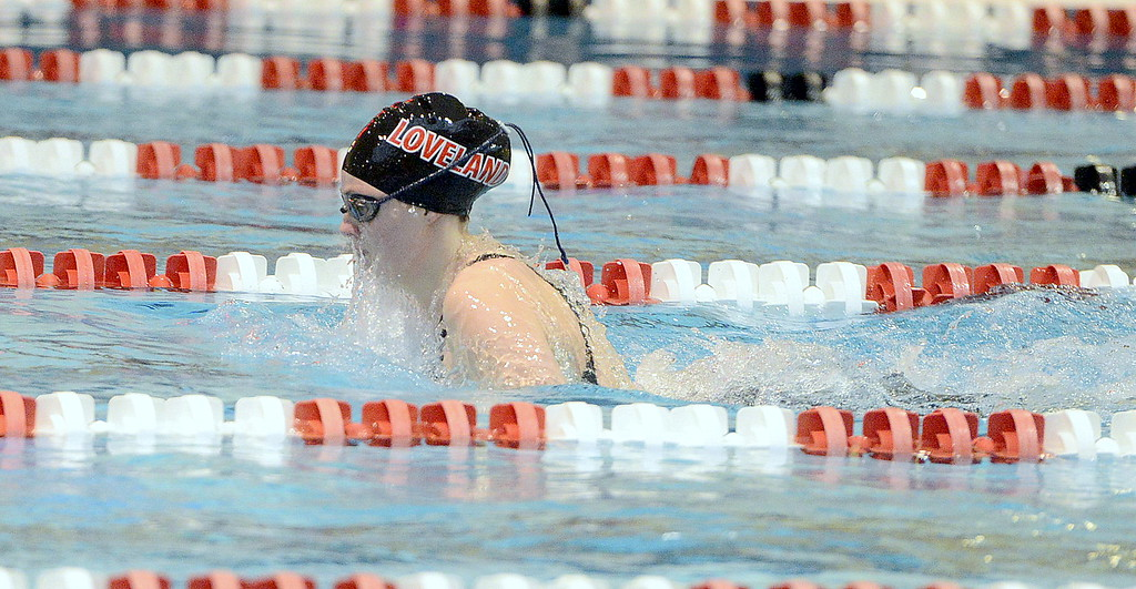 . Loveland\'s Ashley Peet covered the breaststroke leg of the 200-yard medley relay during Friday\'s preliminaries of the 4A state girls swim meet at Veterans Memorial Aquatic Center. The Indians movd up four spots to place seventh and reach Saturday\'s championship finals.