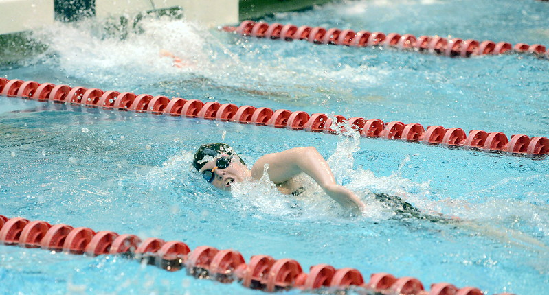 Thompson Valley's Emma McKalko closes in on the wall during the 500-yard freestyle during the 4A girls state swim meet preliminaries Friday at Veterans Memorial Aquatic Center.