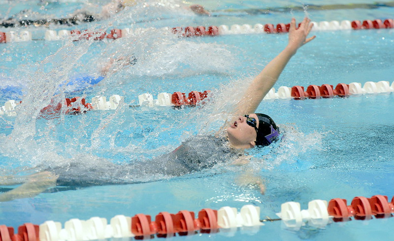 Tasha Reichhardt swims the backstroke leg of the 200-yard medley relay for Mountain View during the 4A girls state swim meet preliminaries Friday at Veterans Memorial Aquatic Center.