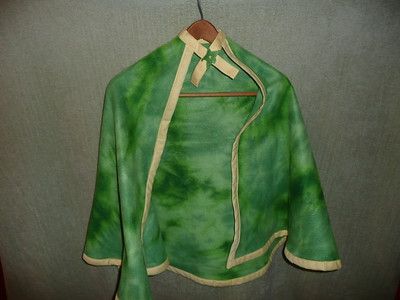 #10 - Green tie-dye with yellow trim - $15 or two for $25  (All capes are fleece and have velcro closure at the neck)