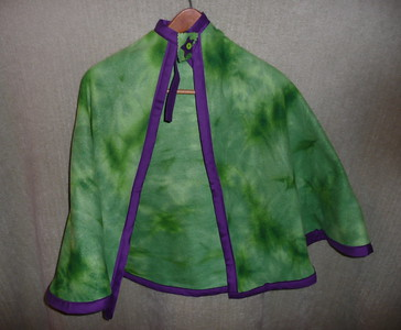 #9 - Green tie-dye look with Purple trim - $15 or two for $25  (All capes are fleece and have velcro closure at the neck)