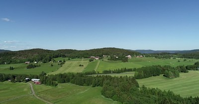 Aerial: Rising over a lush summer landscape at the Swedish High Coast