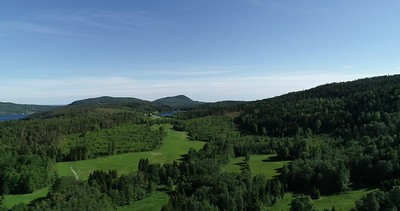 Aerial: slow pan over the lush green landscape at the Swedish High Coast