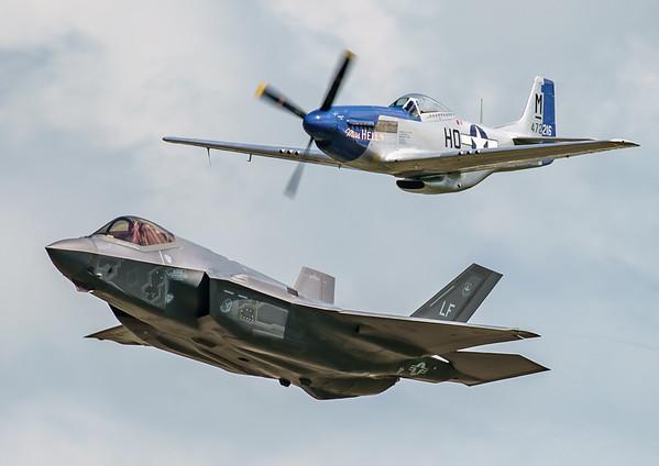 """""""Miss Helen"""", 12-5052, 472216, F-35, F-35A, HO-M, Lightning II, Lockheed Martin, Mustang, Mustang P51D, North American, RIAT2016 (4.8Mp)"""