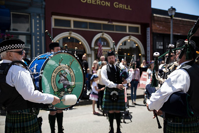Humboldt Highlanders bagpipe group marched through Old Town Eureka and stopped to play multiple songs during the Independence Day celebration in Eureka.  (Sam Armanino - The Times-Standard)
