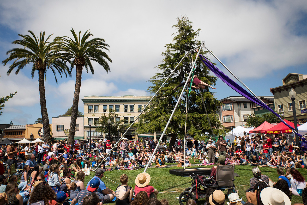 Victoria Ranando uses an aerial rope during her performance at the Arcata July Jubilee festival in celebration of independence day.  (Sam Armanino - The Times-Standard)