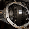 Inside of the Dana 44 front differential prior to cleaning off the old gasket.