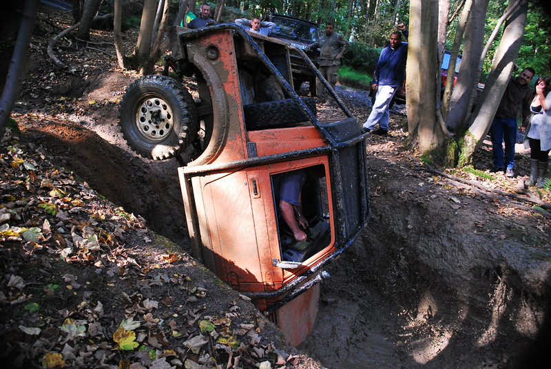 This was his 2nd attempt at driving down the slope, luckily it didn't role, not sure if he was brave or crazy or a mixture of both.